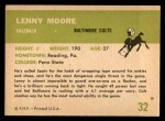1961 Fleer #32  Lenny Moore  Back Thumbnail