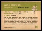 1961 Fleer #131  Gene Johnson  Back Thumbnail