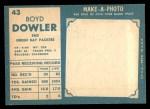 1961 Topps #43  Boyd Dowler  Back Thumbnail