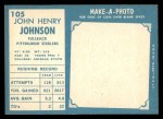 1961 Topps #105  John Henry Johnson  Back Thumbnail