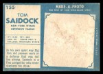 1961 Topps #155  Tom Saidock  Back Thumbnail