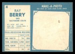1961 Topps #4  Ray Berry  Back Thumbnail