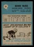 1964 Philadelphia #21  Bennie McRae   Back Thumbnail