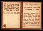1967 Philadelphia #194   Giants Highlight Back Thumbnail