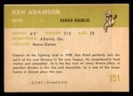 1961 Fleer #151  Ken Adamson  Back Thumbnail