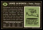 1969 Topps #69  Lance Alworth  Back Thumbnail