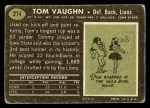 1969 Topps #214  Tom Vaughn  Back Thumbnail
