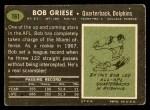1969 Topps #161  Bob Griese  Back Thumbnail