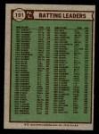 1976 Topps #191   -  Bill Madlock / Ted Simmons / Manny Sanguillen NL Batting Leaders Back Thumbnail