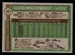 1976 Topps #399  Luis Melendez  Back Thumbnail