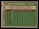 1976 Topps #587  Leo 'Chico' Cardenas  Back Thumbnail