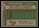 1976 Topps #116  Charlie Moore  Back Thumbnail