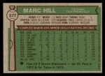 1976 Topps #577  Marc Hill  Back Thumbnail