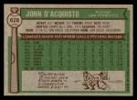 1976 Topps #628  John D'Acquisto  Back Thumbnail