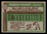 1976 Topps #316  Robin Yount  Back Thumbnail