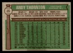 1976 Topps #26  Andy Thornton  Back Thumbnail