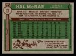 1976 Topps #72  Hal McRae  Back Thumbnail