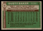 1976 Topps #28  Dusty Baker  Back Thumbnail