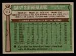 1976 Topps #113  Gary Sutherland  Back Thumbnail