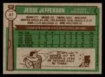 1976 Topps #47  Jesse Jefferson  Back Thumbnail