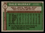 1976 Topps #18  Dale Murray  Back Thumbnail