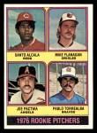 1976 Topps #589   -  Santo Alcala / Mike Flanagan / Joe Pactwa / Pablo Torrealba Rookie Pitchers   Front Thumbnail