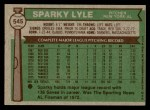 1976 Topps #545  Sparky Lyle  Back Thumbnail