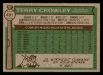 1976 Topps #491  Terry Crowley  Back Thumbnail
