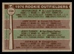 1976 Topps #598   -  Hector Cruz / Jamie Quirk / Jerry Turner / Joe Wallis Rookie Outfielders   Back Thumbnail