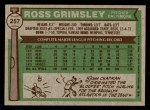 1976 Topps #257  Ross Grimsley  Back Thumbnail