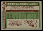 1976 Topps #101  Pete LaCock  Back Thumbnail