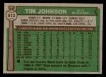 1976 Topps #613  Tim Johnson  Back Thumbnail