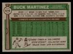 1976 Topps #616  Buck Martinez  Back Thumbnail