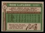 1976 Topps #61  Ron LeFlore  Back Thumbnail