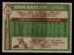 1976 Topps #125  Don Baylor  Back Thumbnail