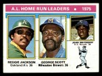 1976 Topps #194   -  Reggie Jackson / George  Scott / John Mayberry AL HR Leaders   Front Thumbnail