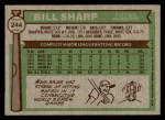 1976 Topps #244  Bill Sharp  Back Thumbnail
