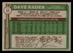 1976 Topps #54  Dave Rader  Back Thumbnail
