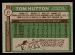 1976 Topps #91  Tom Hutton  Back Thumbnail