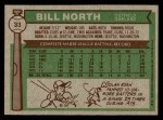 1976 Topps #33  Bill North  Back Thumbnail