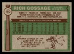 1976 Topps #180  Goose Gossage  Back Thumbnail