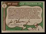 1976 Topps #68  Joe Coleman / Joe Coleman Jr.  Back Thumbnail