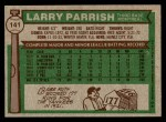1976 Topps #141  Larry Parrish  Back Thumbnail