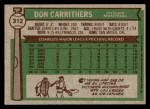 1976 Topps #312  Don Carrithers  Back Thumbnail