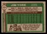 1976 Topps #224  Jim York  Back Thumbnail