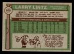 1976 Topps #109  Larry Lintz  Back Thumbnail