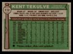 1976 Topps #112  Kent Tekulve  Back Thumbnail