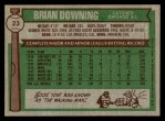 1976 Topps #23  Brian Downing  Back Thumbnail