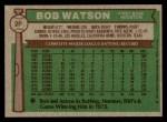 1976 Topps #20  Bob Watson  Back Thumbnail