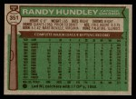 1976 Topps #351  Randy Hundley  Back Thumbnail